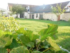 jardin fleuri et clos. cueillette de rhubarbe et fines herbes, transats table et chaises de jardin